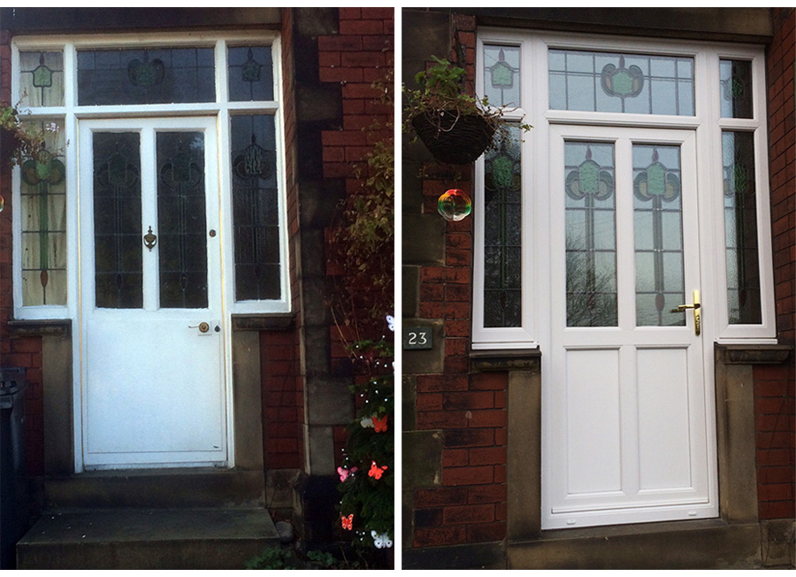 Encapsulated UPVC Door Window Huddersfield Before & After