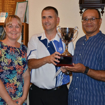 Gardinia's Dawn Crum, the winner Graeme Wilson and Gardinia's Allan Hinchliffe presenting the prizes.